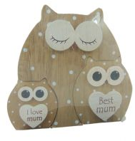 'I LOVE MUM BEST MUM'  WOODEN STANDING OWL WITHIN AN OWL GREAT GIFT FOR MUM